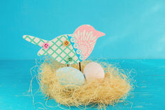 Easter eggs in a bird's nest. Royalty Free Stock Images