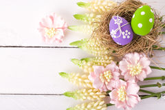 Easter eggs in a bird's nest Royalty Free Stock Image
