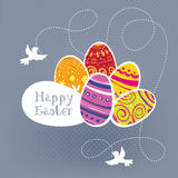 Easter eggs with birds. Stock Images