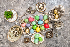 Easter eggs and birds feather. Holidays background Royalty Free Stock Photo