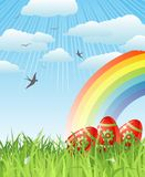 Easter with eggs, birds and rainbow / vector Stock Images