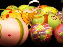 Easter eggs on a black background Stock Photo