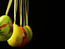 Easter eggs on a black background. Stock Photo