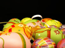 Easter eggs on a black background. Royalty Free Stock Photography
