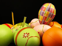 Easter eggs on a black background. Royalty Free Stock Photos