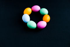 Easter eggs on a black table Royalty Free Stock Photography