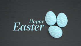 Easter eggs on black wooden background Stock Images