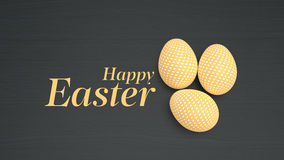 Easter eggs on black wooden background Stock Photo