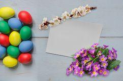 Easter eggs and card Stock Image