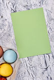 Easter eggs, blank greeting card. Stock Photography