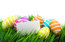 Easter eggs and blank note Stock Image