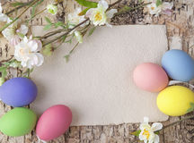 Easter eggs and blank note Royalty Free Stock Images