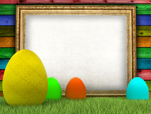 Easter eggs and blank sheet royalty free illustration
