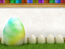 Easter eggs and blank sheet Stock Photos