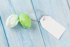 Easter eggs and blank tag Royalty Free Stock Photo
