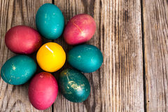Easter eggs blessed on old wooden boards Royalty Free Stock Images