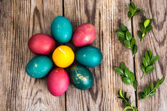 Easter eggs blessed on old wooden boards Stock Photography