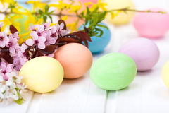 Easter eggs and blooming branch Royalty Free Stock Photography