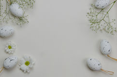 Easter eggs with blooming flowers. On white background. Illustration Royalty Free Stock Photo
