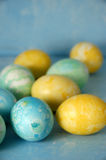 Easter Eggs On Blue Stock Photos