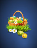 Easter eggs on a blue background Royalty Free Stock Photos
