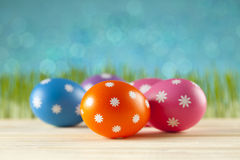 Easter eggs on blue background Stock Image