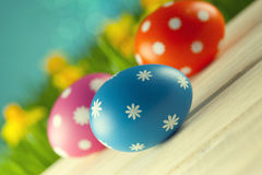 Easter eggs on blue background Royalty Free Stock Photography