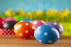 Easter eggs on blue background Royalty Free Stock Images