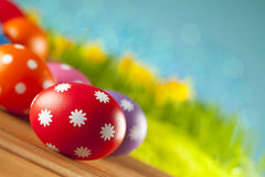 Easter eggs on blue background Stock Images