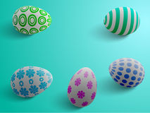 Easter eggs. On a blue background illuminated from the side Stock Photo
