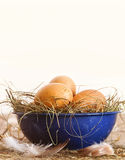 Easter eggs in blue bowl with straw Royalty Free Stock Photography