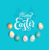Easter eggs blue card Royalty Free Stock Image