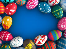Easter eggs. With blue color copy space background 3d illustration Royalty Free Stock Photography
