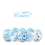 Easter eggs with blue decoration Stock Photography
