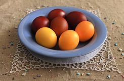 Easter eggs on a blue plate Royalty Free Stock Photo