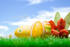 Easter eggs in blue sky Royalty Free Stock Image