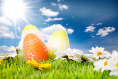 Easter eggs before blue sky Royalty Free Stock Photo