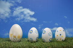 Easter eggs with blue sky Stock Images