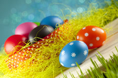 Easter eggs on blue sky background Royalty Free Stock Images