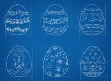 Easter Eggs Blueprint Royalty Free Stock Photography