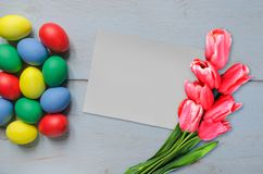 Easter eggs on boards Stock Photos
