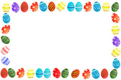 Easter eggs border. Cute colorful easter eggs border / frame white background Stock Image