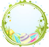 Easter eggs and border. Decorated easter eggs inside a floral border Royalty Free Stock Photos