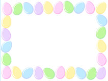 Easter eggs border. Cute colorful easter eggs border / frame white background Stock Photo