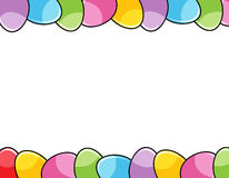 Easter eggs border. Cute colorful easter eggs header and footer/ border / frame white background Royalty Free Stock Photography