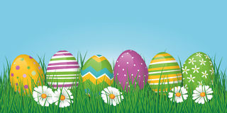 Easter Eggs Border, Banner or Header. Border or banner with easter eggs and copy space Royalty Free Stock Image