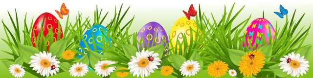 Easter eggs border with daisies Royalty Free Stock Photos