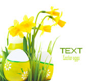 Easter eggs border with flowers Royalty Free Stock Photography