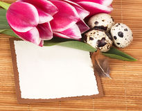 Easter eggs with bouquet pink tulips Royalty Free Stock Photography