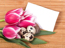 Easter eggs with bouquet pink tulips Stock Photo